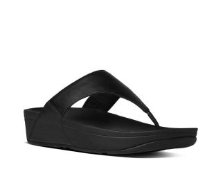 FitFlop Womens LULU Leather Toe-Thongs Black Sandals